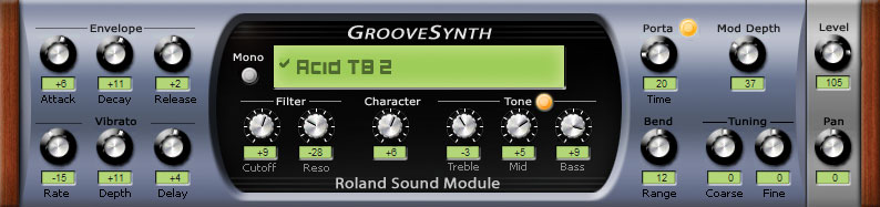 Screenshot of Roland Groovesynth