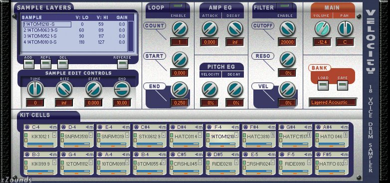 Screenshot of Velocity drum sampler